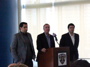 Photo Credit: Danny Morales(From left to right) Flavio Augusto Da Silva, Phil Rawlins, and Alexandre Leitão at the Orlando City press conference.